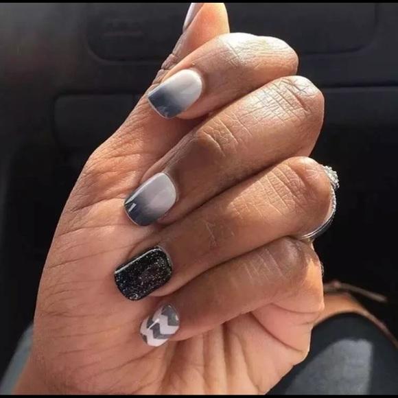 Kiss Impress Other | Impress Nails Black Glitter White Grey Short ...